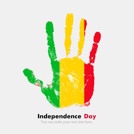 mali: Hand print, which bears the Flag of Mali. Independence Day. Grunge style. Grungy hand print with the flag. Hand print and five fingers. Used as an icon, card, greeting, printed materials.