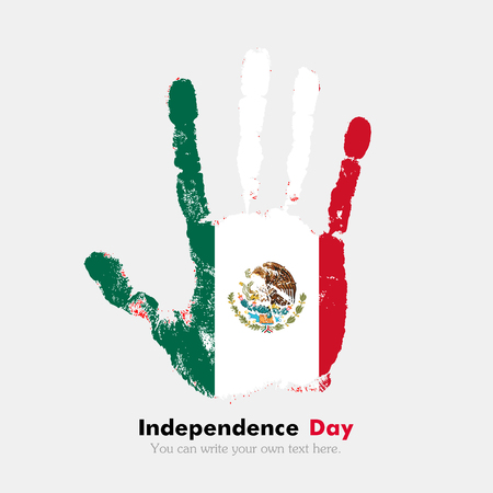 hand print: Hand print, which bears the Flag of Mexico. Independence Day. Grunge style. Grungy hand print with the flag. Hand print and five fingers. Used as an icon, card, greeting, printed materials.