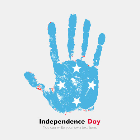 hand print: Hand print, which bears the Flag of Micronesia. Independence Day. Grunge style. Grungy hand print with the flag. Hand print and five fingers. Used as an icon, card, greeting, printed materials.