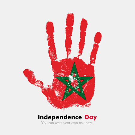 hand print: Hand print, which bears the Flag of Morocco. Independence Day. Grunge style. Grungy hand print with the flag. Hand print and five fingers. Used as an icon, card, greeting, printed materials.