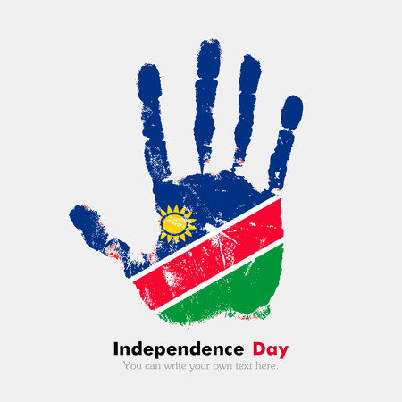 Hand print, which bears the Flag of Namibia. Independence Day. Grunge style. Grungy hand print with the flag. Hand print and five fingers. Used as an icon, card, greeting, printed materials.