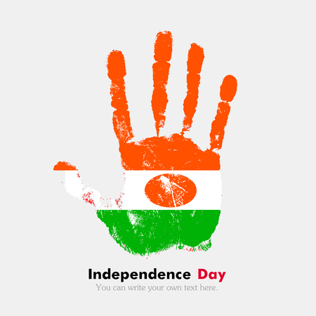 hand print: Hand print, which bears the Flag of Niger. Independence Day. Grunge style. Grungy hand print with the flag. Hand print and five fingers. Used as an icon, card, greeting, printed materials.