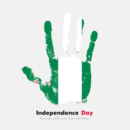 Hand print, which bears the Flag of Nigeria. Independence Day. Grunge style. Grungy hand print with the flag. Hand print and five fingers. Used as an icon, card, greeting, printed materials. Illustration