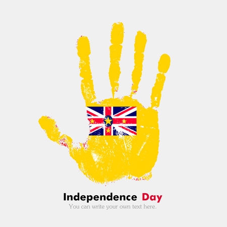 niue: Hand print, which bears the Flag of Niue. Independence Day. Grunge style. Grungy hand print with the flag. Hand print and five fingers. Used as an icon, card, greeting, printed materials.