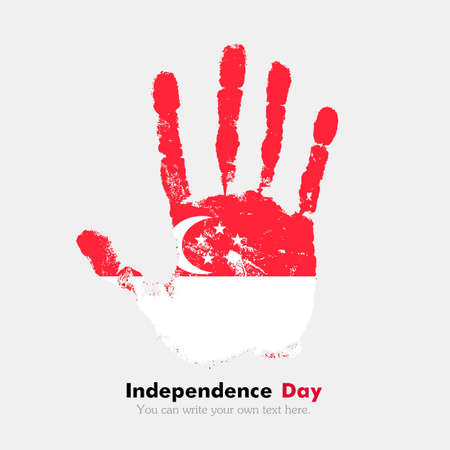 hand print: Hand print, which bears the Flag of Singapore. Independence Day. Grunge style. Grungy hand print with the flag. Hand print and five fingers. Used as an icon, card, greeting, printed materials. Illustration
