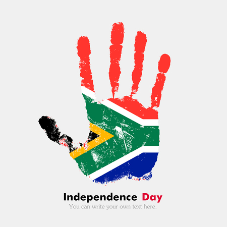 hand print: Hand print, which bears the Flag of South Africa. Independence Day. Grunge style. Grungy hand print with the flag. Hand print and five fingers. Used as an icon, card, greeting, printed materials. Illustration