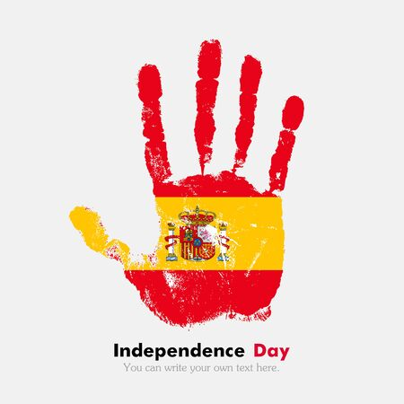 hand print: Hand print, which bears the Flag of Spain. Independence Day. Grunge style. Grungy hand print with the flag. Hand print and five fingers. Used as an icon, card, greeting, printed materials.