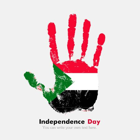 hand print: Hand print, which bears the Flag of Sudan. Independence Day. Grunge style. Grungy hand print with the flag. Hand print and five fingers. Used as an icon, card, greeting, printed materials.