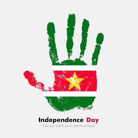 hand print: Hand print, which bears the Flag of Suriname. Independence Day. Grunge style. Grungy hand print with the flag. Hand print and five fingers. Used as an icon, card, greeting, printed materials.