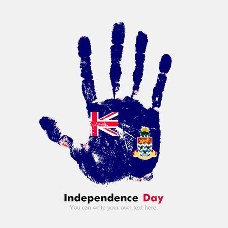 hand print: Hand print, which bears the Flag of the Cayman Islands. Independence Day. Grunge style. Grungy hand print with the flag. Hand print and five fingers. Used as an icon, card, greeting, printed materials. Illustration