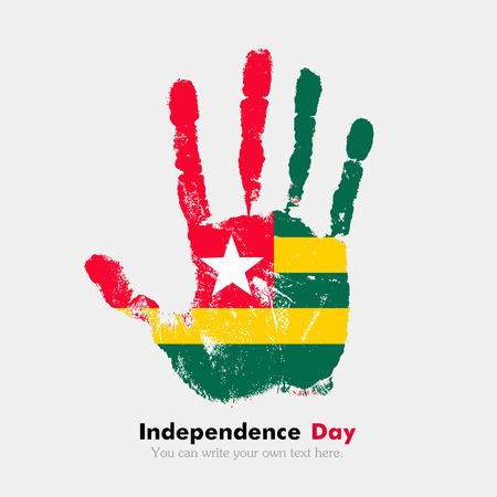hand print: Hand print, which bears the Flag of Togo. Independence Day. Grunge style. Grungy hand print with the flag. Hand print and five fingers. Used as an icon, card, greeting, printed materials. Illustration