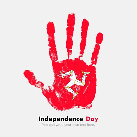 hand print: Hand print, which bears the Flag of the Isle of Man. Independence Day. Grunge style. Grungy hand print with the flag. Hand print and five fingers. Used as an icon, card, greeting, printed materials.
