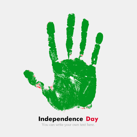 libyan: Hand print, which bears the Flag of the Libyan Arab Jamahiriya. Independence Day. Grunge style. Grungy hand print with the flag. Hand print and five fingers. Used as an icon, card, greeting, printed materials.
