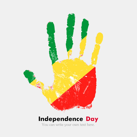 hand print: Hand print, which bears the Flag of the Republic of Congo. Independence Day. Grunge style. Grungy hand print with the flag. Hand print and five fingers. Used as an icon, card, greeting, printed materials. Illustration