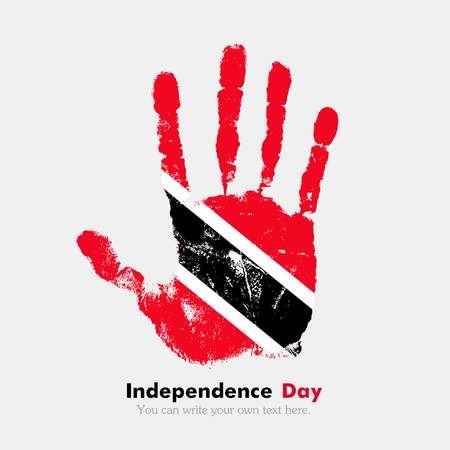 hand print: Hand print, which bears the Flag of Trinidad and Tobago. Independence Day. Grunge style. Grungy hand print with the flag. Hand print and five fingers. Used as an icon, card, greeting, printed materials.