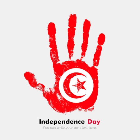 hand print: Hand print, which bears the Flag of Tunisia. Independence Day. Grunge style. Grungy hand print with the flag. Hand print and five fingers. Used as an icon, card, greeting, printed materials.
