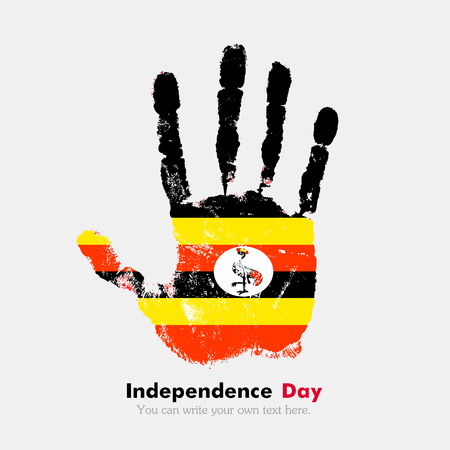 hand print: Hand print, which bears the Flag of Uganda. Independence Day. Grunge style. Grungy hand print with the flag. Hand print and five fingers. Used as an icon, card, greeting, printed materials.