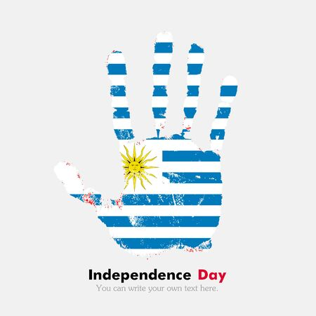 hand print: Hand print, which bears the Flag of Uruguay. Independence Day. Grunge style. Grungy hand print with the flag. Hand print and five fingers. Used as an icon, card, greeting, printed materials.