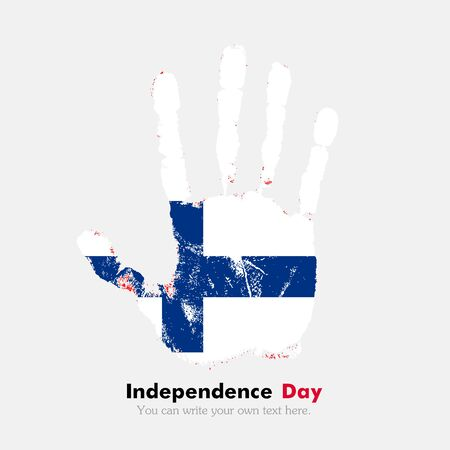hand print: Hand print, which bears the Flag of Finland. Independence Day. Grunge style. Grungy hand print with the flag. Hand print and five fingers. Used as an icon, card, greeting, printed materials.