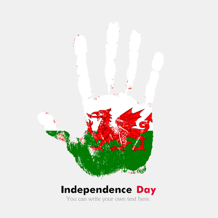 hand print: Hand print, which bears the Flag of Wales. Independence Day. Grunge style. Grungy hand print with the flag. Hand print and five fingers. Used as an icon, card, greeting, printed materials. Illustration