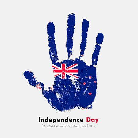 hand print: Hand print, which bears the New Zealand flag. Independence Day. Grunge style. Grungy hand print with the flag. Hand print and five fingers. Used as an icon, card, greeting, printed materials. Illustration