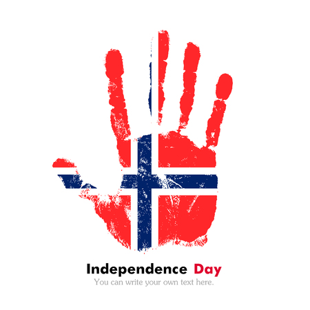 norwegian flag: Hand print, which bears the Norwegian flag. Independence Day. Grunge style. Grungy hand print with the flag. Hand print and five fingers. Used as an icon, card, greeting, printed materials. Illustration