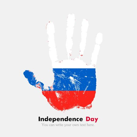 russian flag: Hand print, which bears the Russian flag. Independence Day. Grunge style. Grungy hand print with the flag. Hand print and five fingers. Used as an icon, card, greeting, printed materials. Illustration