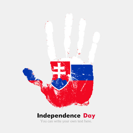 hand print: Hand print, which bears the Slovak flag. Independence Day. Grunge style. Grungy hand print with the flag. Hand print and five fingers. Used as an icon, card, greeting, printed materials.