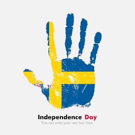 hand print: Hand print, which bears the Sweden flag. Independence Day. Grunge style. Grungy hand print with the flag. Hand print and five fingers. Used as an icon, card, greeting, printed materials.