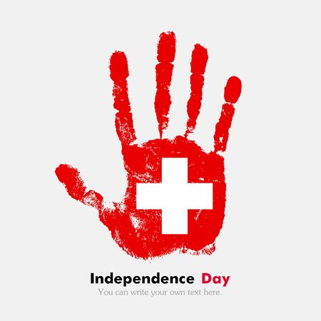 swiss flag: Hand print, which bears the Swiss flag. Independence Day. Grunge style. Grungy hand print with the flag. Hand print and five fingers. Used as an icon, card, greeting, printed materials.