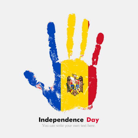 hand print: Hand print, which bears the The flag of Moldova. Independence Day. Grunge style. Grungy hand print with the flag. Hand print and five fingers. Used as an icon, card, greeting, printed materials. Illustration