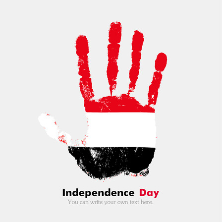 hand print: Hand print, which bears the Flag of Yemen. Independence Day. Grunge style. Grungy hand print with the flag. Hand print and five fingers. Used as an icon, card, greeting, printed materials. Illustration