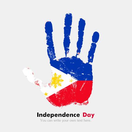 フィリピンの国旗を担う手印刷。独立記念日。グランジ スタイル。汚れた手のフラグを指定して印刷。印刷の手、5 本の指。アイコンとして使用、