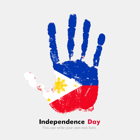 Hand print, which bears the flag of the Philippines. Independence Day. Grunge style. Grungy hand print with the flag. Hand print and five fingers. Used as an icon, card, greeting, printed materials.
