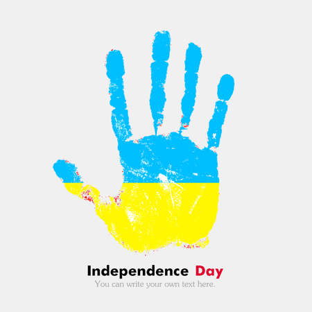 ukrainian flag: Hand print, which bears the Ukrainian flag. Independence Day. Grunge style. Grungy hand print with the flag. Hand print and five fingers. Used as an icon, card, greeting, printed materials. Illustration