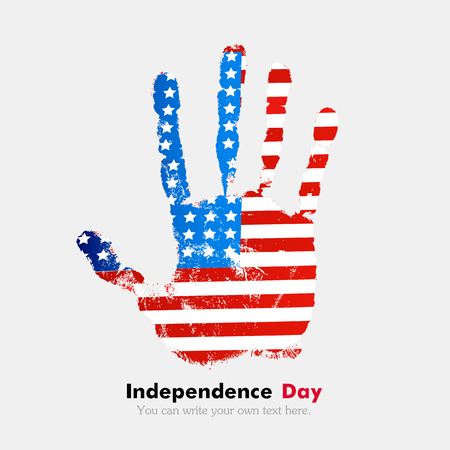 hand print: Hand print, which bears the USA flag. Independence Day. Grunge style. Grungy hand print with the flag. Hand print and five fingers. Used as an icon, card, greeting, printed materials.