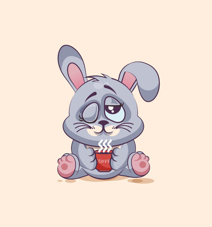 leveret: Vector Stock Illustration isolated Emoji character cartoon Gray leveret just woke up with cup of coffee sticker emoticon for site, infographic, video, animation, websites, e-mails, newsletters, reports, comics