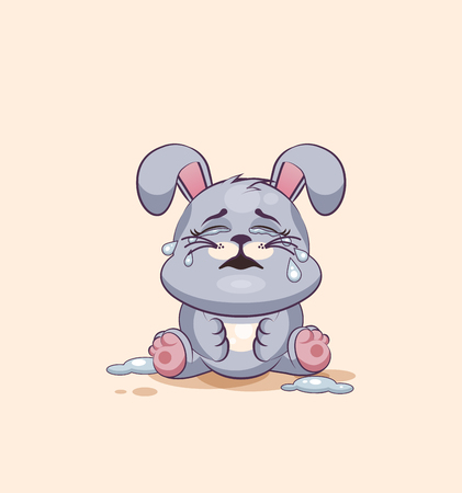 leveret: Vector Stock Illustration isolated Emoji character cartoon Gray leveret crying, lot of tears sticker emoticon for site, info graphic, video, animation, websites, e-mails, newsletters, reports, comics