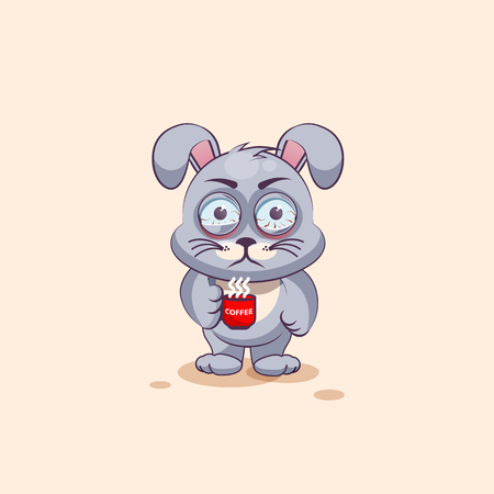 nervousness: Vector Stock Illustration isolated Emoji character cartoon Gray leveret nervous with cup of coffee sticker emoticon for site, info graphic, video, animation, websites, e-mails, newsletters, reports, comics