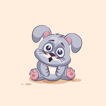 big eyes: Vector Stock Illustration isolated Emoji character cartoon Gray leveret surprised with big eyes sticker emoticon for site, info graphic, video, animation, websites, e-mails, newsletters, reports, comics