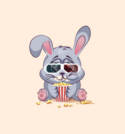 chewing: Vector Stock Illustration Emoji character cartoon Gray leveret chewing popcorn, watching movie in 3D glasses sticker emoticon for site, infographic, video, animation, website, e-mail, newsletter, report, comic Illustration