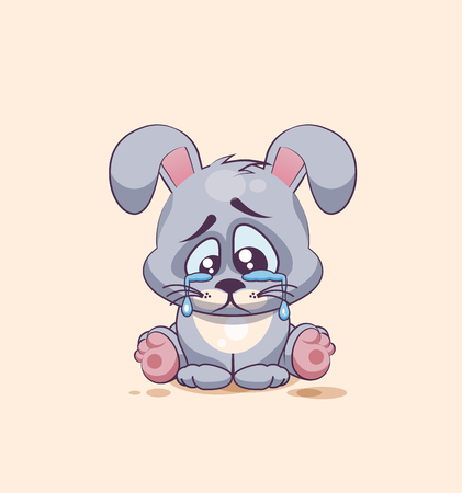leveret: Vector Stock Illustration isolated Emoji character cartoon sad and frustrated Gray leveret crying, tears sticker emoticon for site, info graphic, video, animation, websites, e-mails, newsletters, report, comic