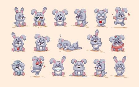 fly up: Set Vector Stock Illustrations isolated Emoji character cartoon Gray leveret stickers emoticons with different emotions for site, info graphic, video, animation, websites, e-mails, newsletters, reports, comics