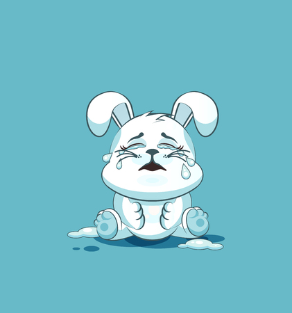 leveret: Vector Stock Illustration isolated Emoji character cartoon White leveret crying, lot of tears sticker emoticon for site, info graphic, video, animation, websites, e-mails, newsletters, reports, comics