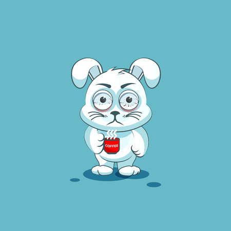 nervousness: Vector Stock Illustration isolated Emoji character cartoon White leveret nervous with cup of coffee sticker emoticon for site, info graphic, video, animation, websites, e-mails, newsletters, reports, comics