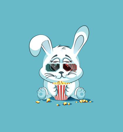 watching movie: Vector Stock Illustration Emoji character cartoon White leveret chewing popcorn, watching movie in 3D glasses sticker emoticon for site, infographic, video, animation, website, e-mail, newsletter, report, comic