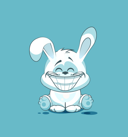 big eyes: Vector Stock Illustration isolated Emoji character cartoon White leveret with a huge smile from ear to ear sticker emoticon for site, info graphic, video, animation, website, e-mail, newsletter, reports, comics
