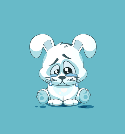 eyes looking down: Vector Stock Illustration isolated Emoji character cartoon sad and frustrated White leveret crying, tears sticker emoticon for site, info graphic, video, animation, websites, e-mails, newsletters, report, comic Illustration