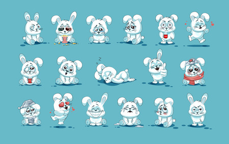 tightness: Set Vector Stock Illustrations isolated Emoji character cartoon White leveret stickers emoticons with different emotions for site, info graphic, video, animation, websites, e-mails, newsletters, reports, comics
