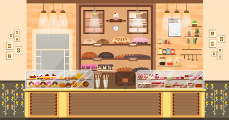 Stock vector illustration interior of bake shop, bake sale, business of baking sales, bakery and baking for production of bakery products, pastry, sweets in flat style element for infographic, website 일러스트
